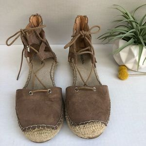 Merona Ankle Tie Closed Toe Espadrilles Size 7
